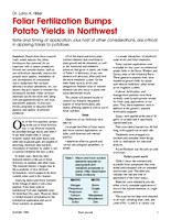 Foliar Fertilization Bumps Potato Yields in Northwest