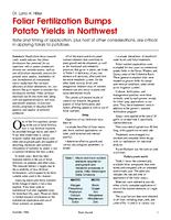 Foliar Fertilization Bumps Potato Yields in Northwest