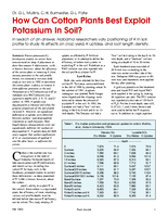 How Can Cotton Plants Best Exploit Potassium In Soil?