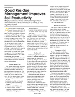 Good Residue Management Improves Soil Productivity