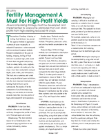 Fertility Management A Must For High-Profit Yields