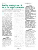Fertility Management A Must For High-Profit Yields