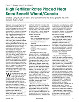 High Fertilizer Rates Placed Near Seed Benefit Wheat/Canola