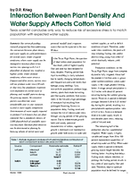 Interaction Between Plant Density And Water Supply Affects Cotton Yield