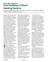 Fluid Fertilizers In Direct Seeding Systems