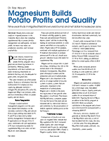 Magnesium Builds Potato Profits and Quality