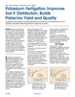 Potassium Fertigation Improves Soil K Distribution, Builds Pistachio Yield and Quality