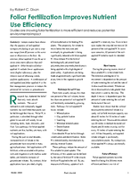 Foliar Fertilization Improves Nutrient Use Efficiency
