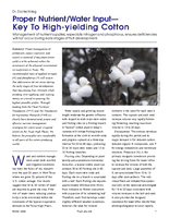 Proper Nutrient/Water Input—Key To High-yielding Cotton