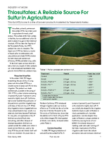 Thiosulfates: A Reliable Source For Sulfur in Agriculture