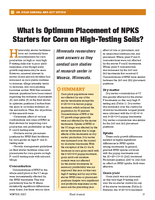 What Is Optimum Placement of NPKS Starters for Corn on High-Testing Soils?