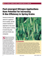 Post-emergent Nitrogen Applications Have Potential for Increasing N-Use Efficiency in Spring Grains