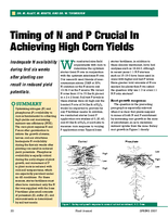 Timing of N and P Crucial In Achieving High Corn Yields