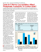 Does N-P Starter Composition Affect Phosphate Availability in Cotton Soils?