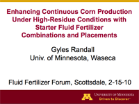 Enhancing Continuous Corn Production Under High Residue Conditions