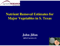 Nutrient Removal By Major Vegetable Crops In Texas