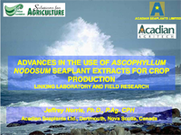 Advances in the Use of Ascophyllum Nodosum Seaplant Extracts for Crop Production Linking Laboratory and Field Research