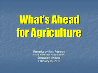 What's Ahead For Agriculture