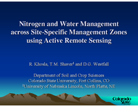 Nitrogen and Water Management across Site-Specific Management Zones using Active Remote Sensing