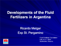 Developments of the Fluid Fertilizers in Argentina