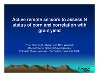 Active remote sensors to assess N status of corn and correlation with grain yield