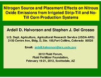 Nitrogen Source and Placement Effects on Nitrous Oxide Emissions from Irrigated Strip-Till and No-Till Corn Production Systems