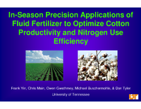In-Season Precision Applications of Fluid Fertilizer to Optimize Cotton Productivity and Nitrogen Use Efficiency