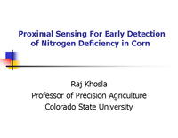 Proximal Sensing For Early Detection of Nitrogen Deficiency in Corn