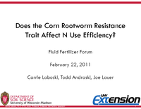 Does the Corn Rootworm Resistance Trait Affect N Use Efficiency?