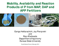 Mobility, Availability and Reaction Products of P from MAP, DAP and APP Fertilizers