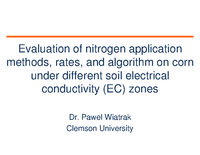 Evaluation of Nitrogen Application Methods, Rates, and Algorithm on Corn Under Different Soil Electrical Conductivity Zones