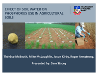 Effect Of Soil Water On Phosphorus Use In Agricultural Soils