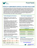 Fertility Components Critical for High Yield Corn