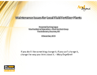 Maintenance Issues for Local Fluid Fertilizer Plants