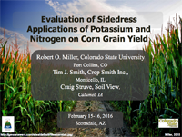 Evaluation of Sidedress Applications of Potassium and Nitrogen on Corn Grain Yield