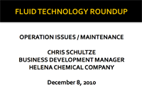 Fluid Plant Operation Issues and Maintenance