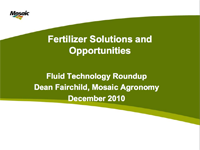 Fluid Fertilizer Solutions and Opportunities