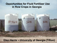Opportunities for Fluid Fertilizer Use in Row Crops in Georgia