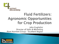 Fluid Fertilizer Agronomic Opportunities For Crop Production
