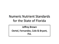 Numeric Nutrient Standards for the State of Florida