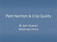 Plant Nutrition and Crop Quality