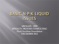 Basic N-P-K Liquid Blending Issues