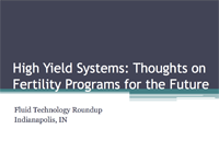 Fertility Programs For High Yield Systems