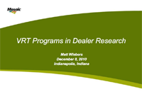 Use Of VRT Programs In Dealer Research