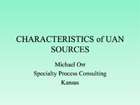 Characteristics of UAN Sources
