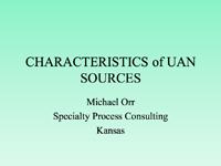 Characteristics of UAN Sources