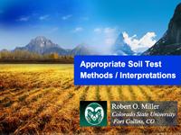Appropriate Soil Test Methods/Interpretations