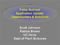 Foliar Nutrient Application Update: Opportunities & Solutions