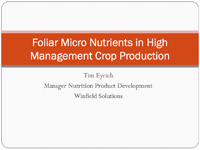 Micro Nutrients in High Management Crop Production