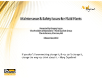 Maintenance & Safety Issues for Fluid Plants